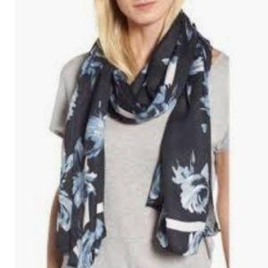 kate spade night rose silk oblong scarf nwt
